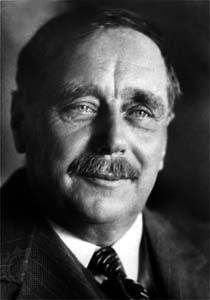 H.G. Wells: escritor de A Guerra dos Mundos, obra que trata de uma invasão marciana à Terra, mais particularmente à Inglaterra.