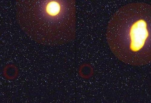 Uma estrela que se aproxima de um buraco negro e é sugada devido à atração gravítica.