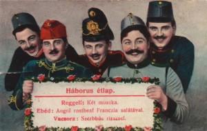postal onde militares húngaros ostentam palavras jocosas sobre ingleses, franceses e sérvios