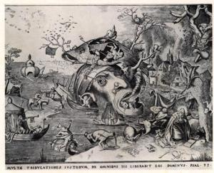 """Fig.1 A partir de um desenho de Pieter Bruegel, o Velho: """" Tentações de Santo Antão"""".Gravura"""